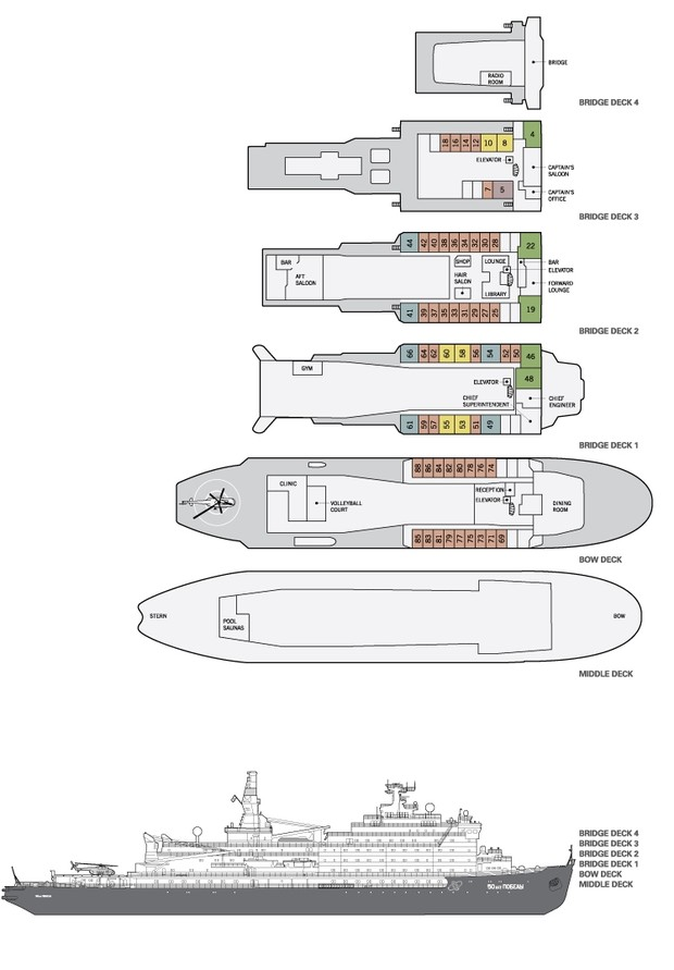 Cabin layout for 50 Years of Victory