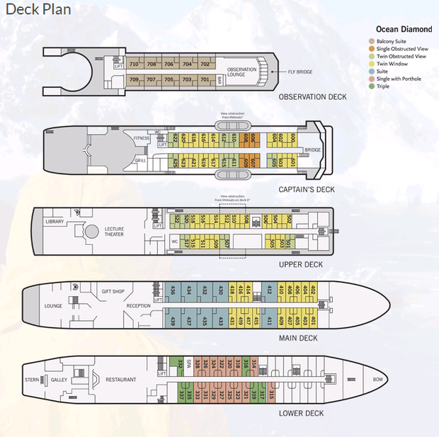 Cabin layout for Ocean Diamond