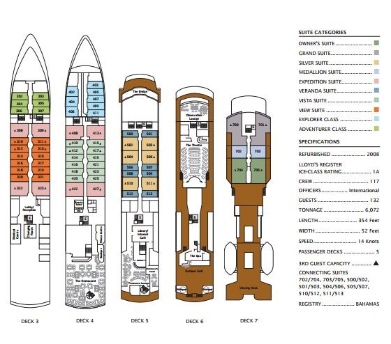 Cabin layout for Silver Explorer