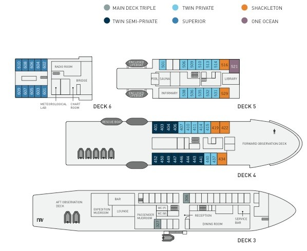 Cabin layout for Akademik Ioffe