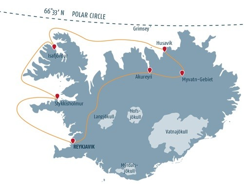 Map for Northern Lights and Whales
