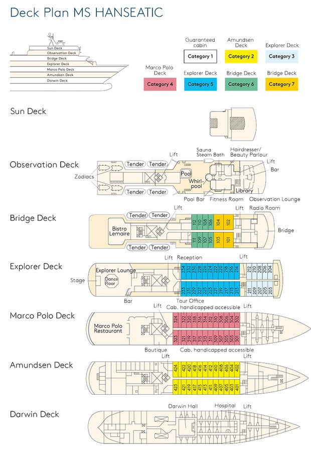 Cabin layout for MS Hanseatic