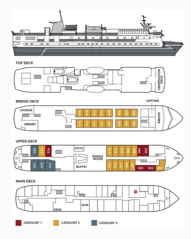 Cabin layout for Ocean Nova