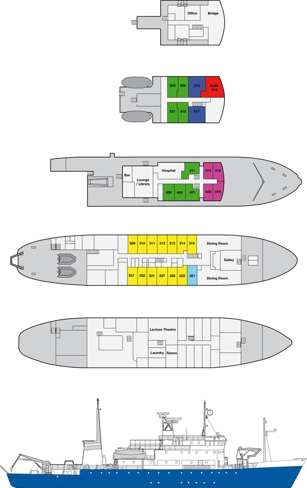 Cabin layout for Spirit of Enderby/Shokalskiy