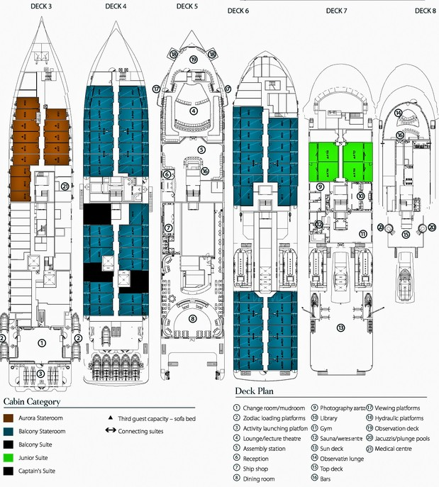 Cabin layout for Greg Mortimer