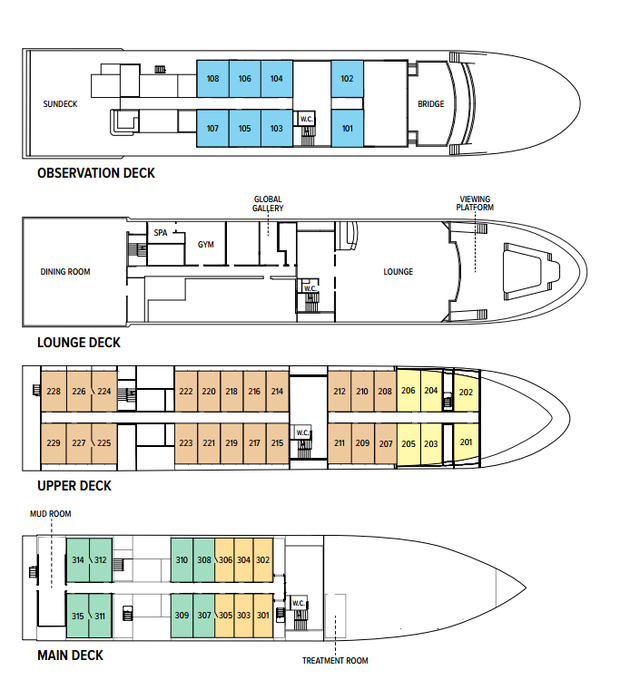 Cabin layout for National Geographic Venture