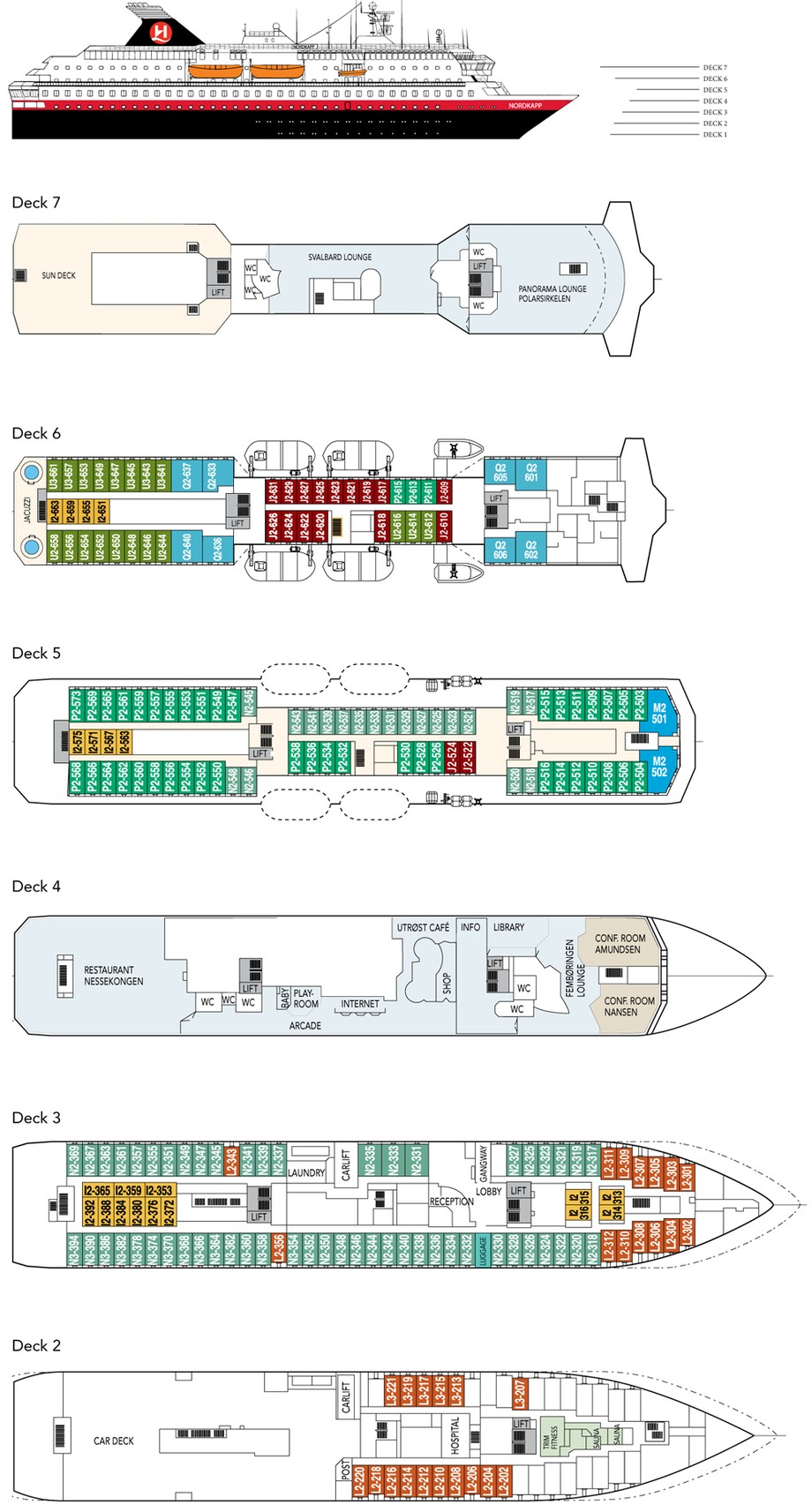 Cabin layout for Hurtigruten Ships