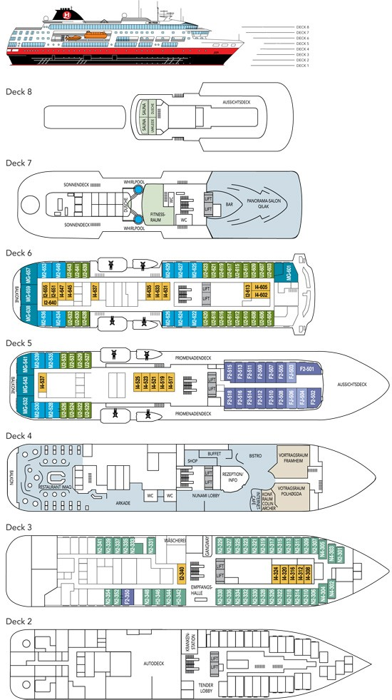 Cabin layout for Fram