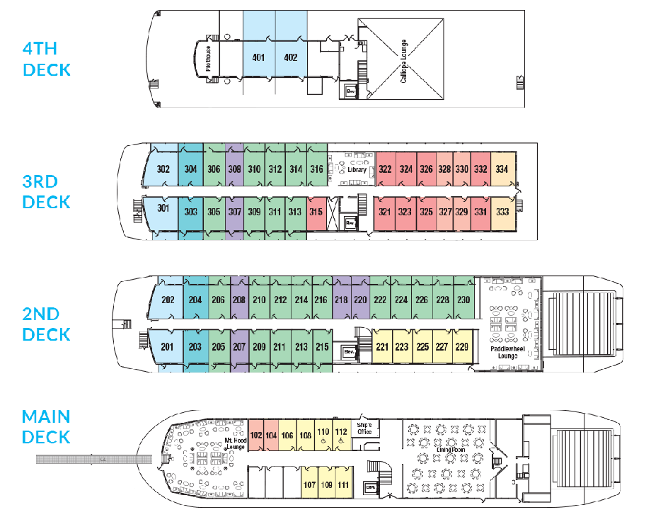 Cabin layout for Queen of the West