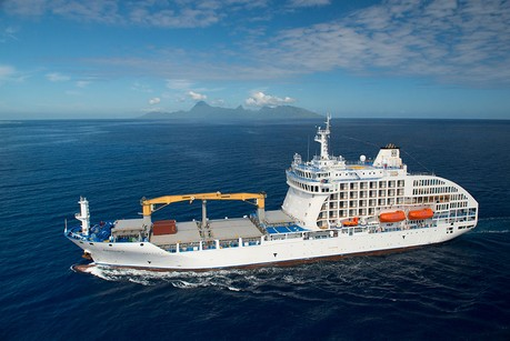 Aranui 5, the ship servicing Enchanting Marquesas Islands of French Polynesia