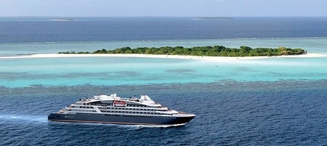Le Bougainville, the ship servicing The Seychelles and Aldabra Atoll