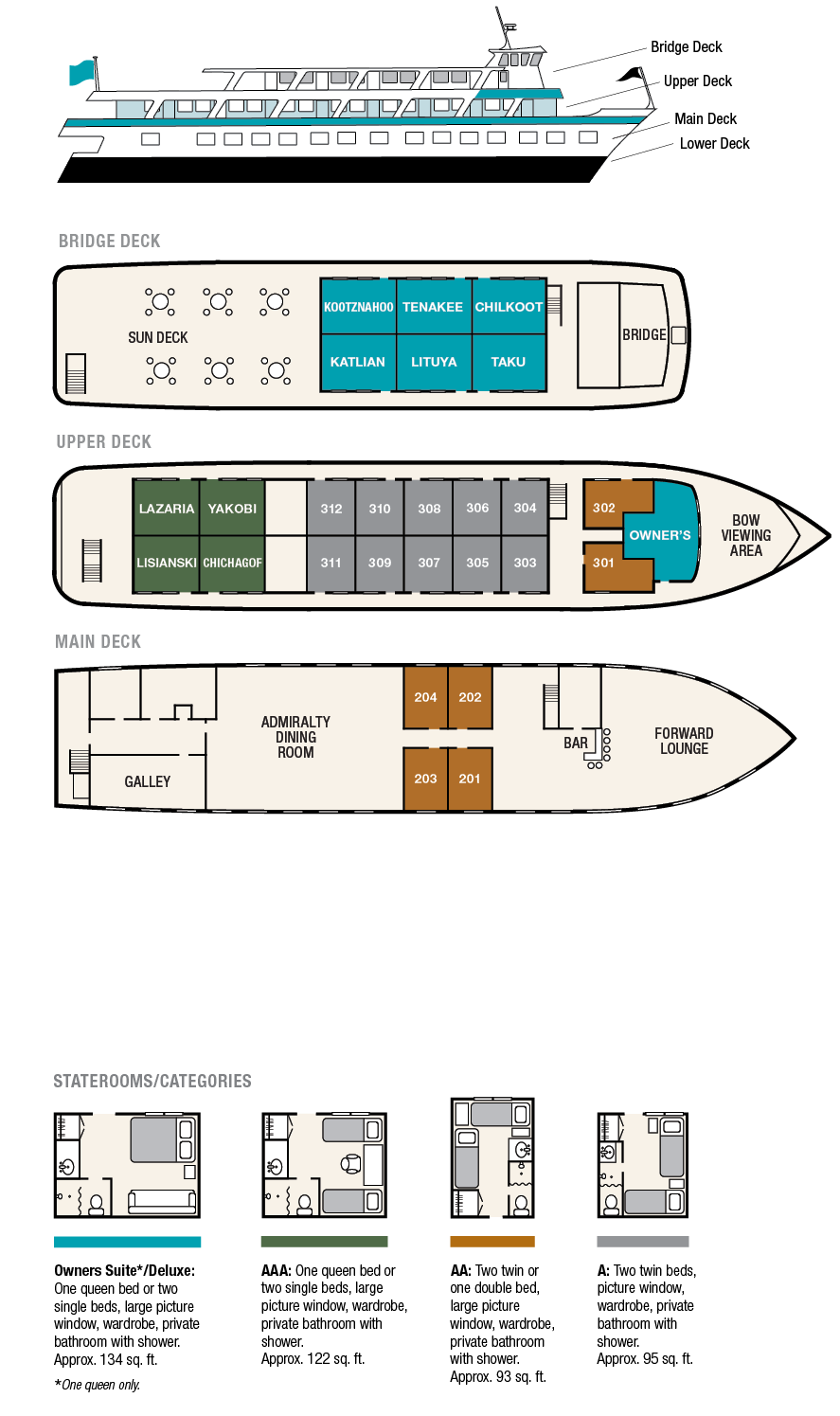 Cabin layout for  Admiralty Dream