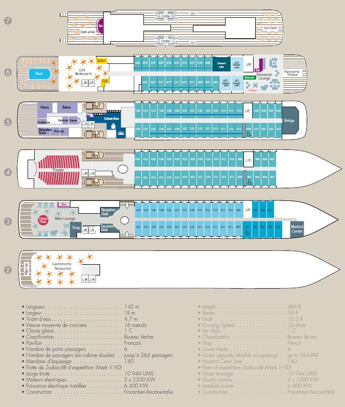 Cabin layout for Le Boreal