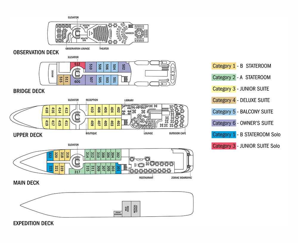 Cabin layout for National Geographic Orion