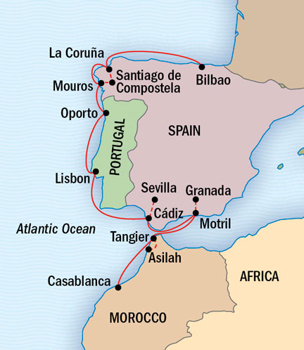 Morocco Spain And Portugal Land Of The Moors - Portugal morocco map
