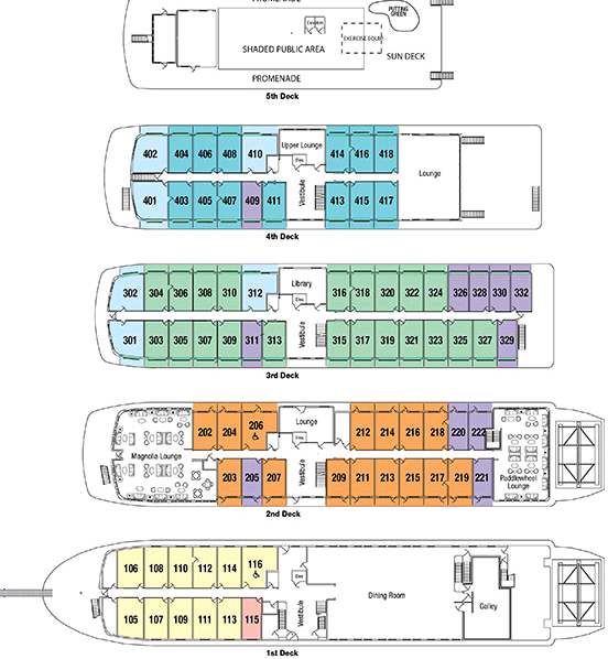 Cabin layout for Queen of the Mississippi