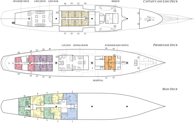 Cabin layout for Sea Cloud