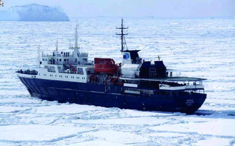 Ortelius, the ship servicing Ross Sea Incl. Helicopters