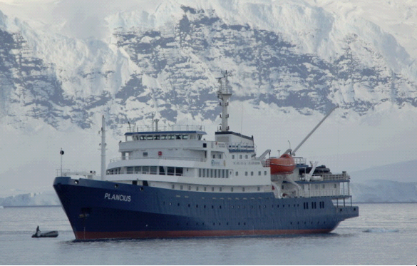 Plancius, the ship servicing Atlantic Odyssey with South Georgia