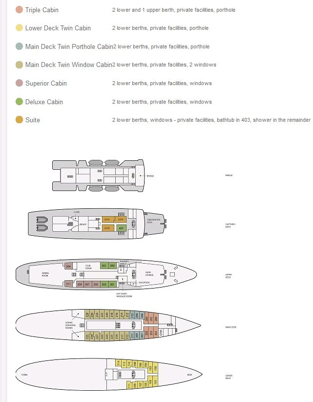 Cabin layout for Sea Adventurer