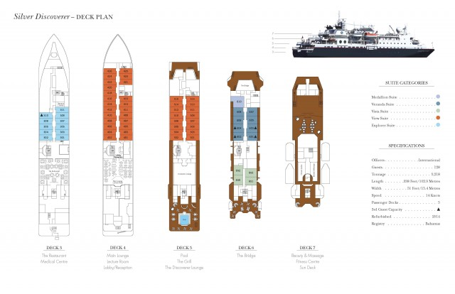 Cabin layout for Silver Discoverer