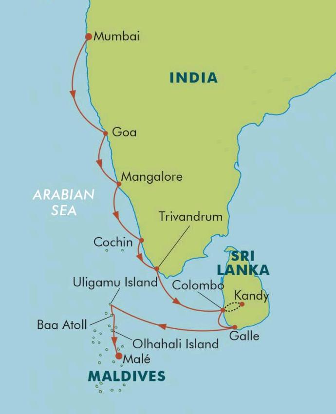 India Sri Lanka The Maldives - Maldives map india