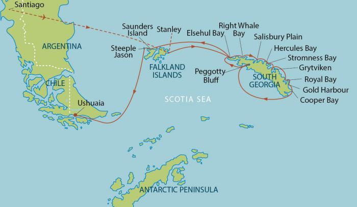 Circumnavigation of South Georgia the Falkland Islands