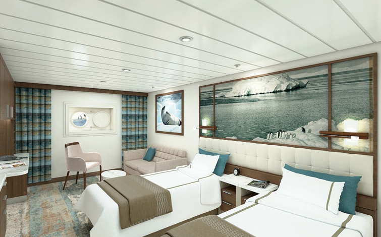 Greg Mortimer Aurora Twin Cabin | The Small Cruise Ship Collection