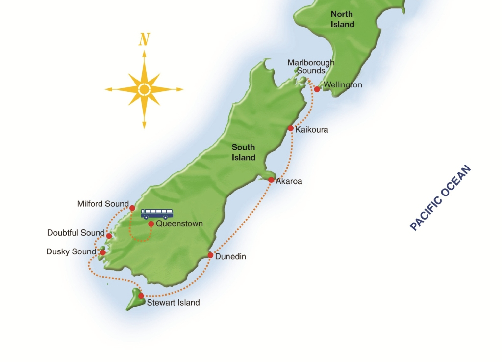 Map for New Zealand - Milford Sound to Wellington
