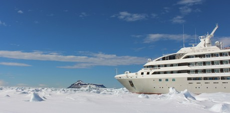 Le Soleal in the Weddell Sea with Cockburn Island. The Small Cruise Ship Collection