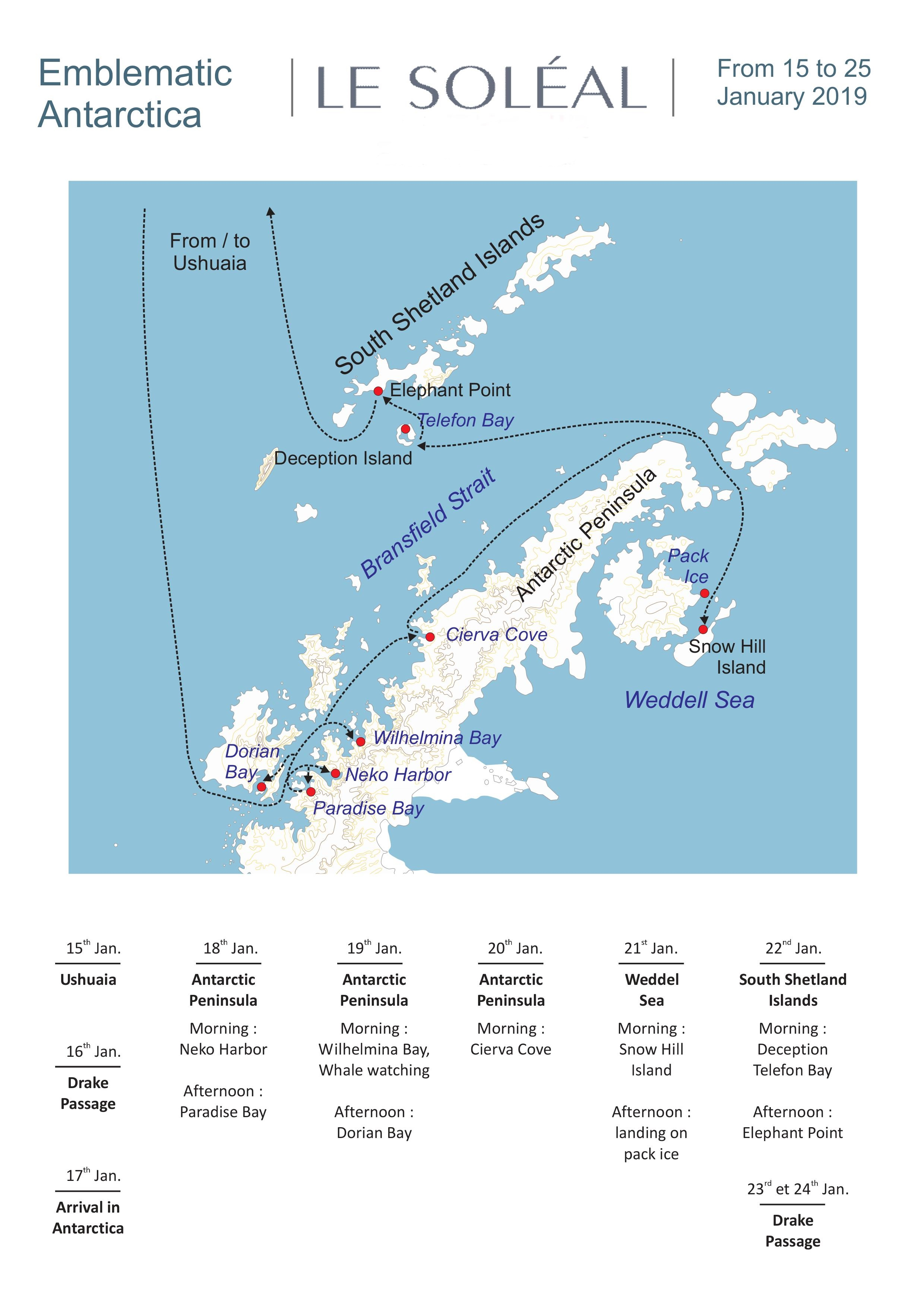 Emblematic Antarctica & Weddell Sea cruise Map. The Small Cruise Ship Collection