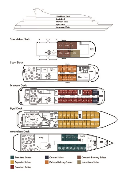 Cabin layout for Sea Explorer/Hebridean Sky