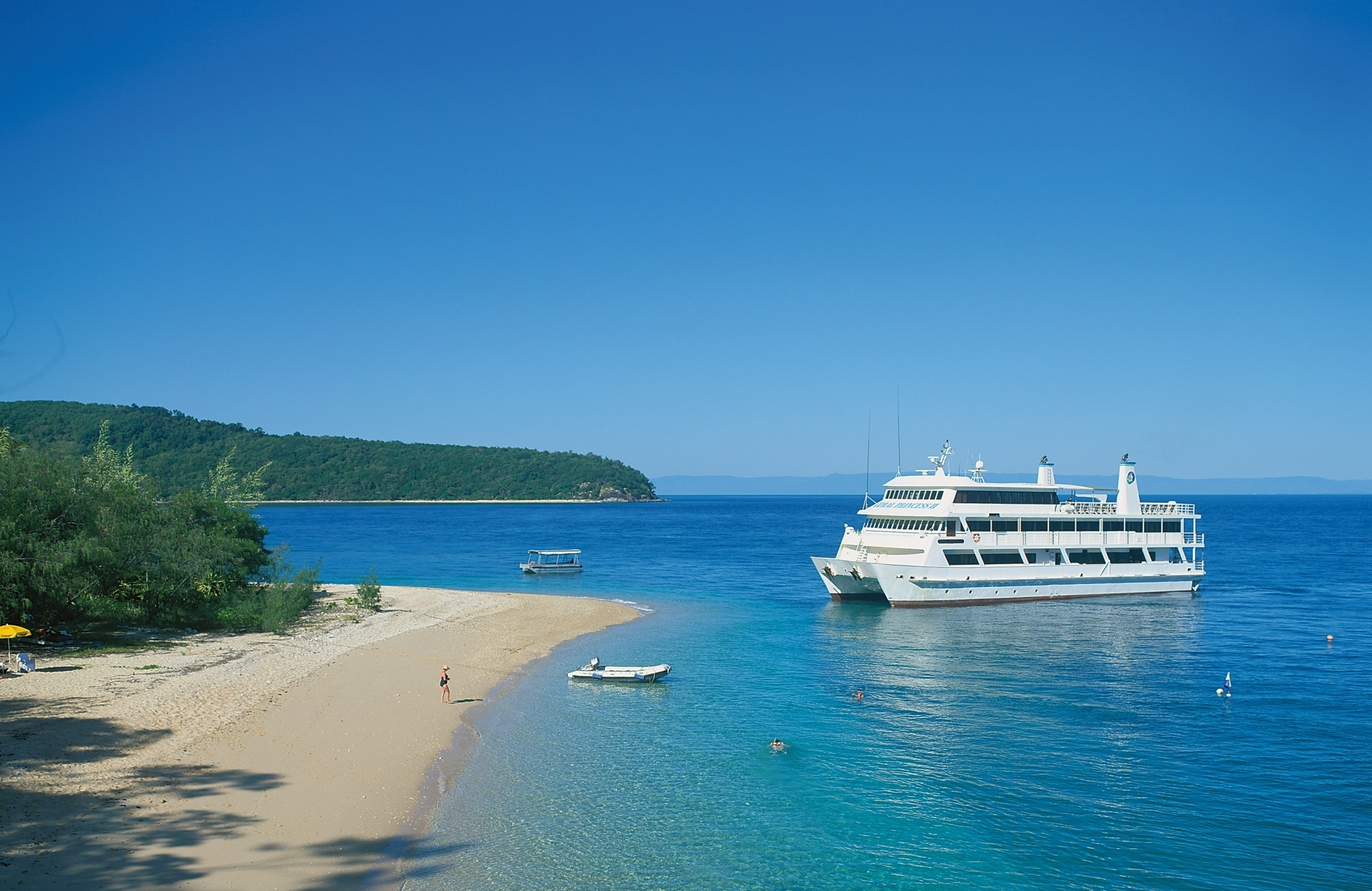 Coral Expeditions II, the ship servicing Great Barrier Reef with Pelorus Island