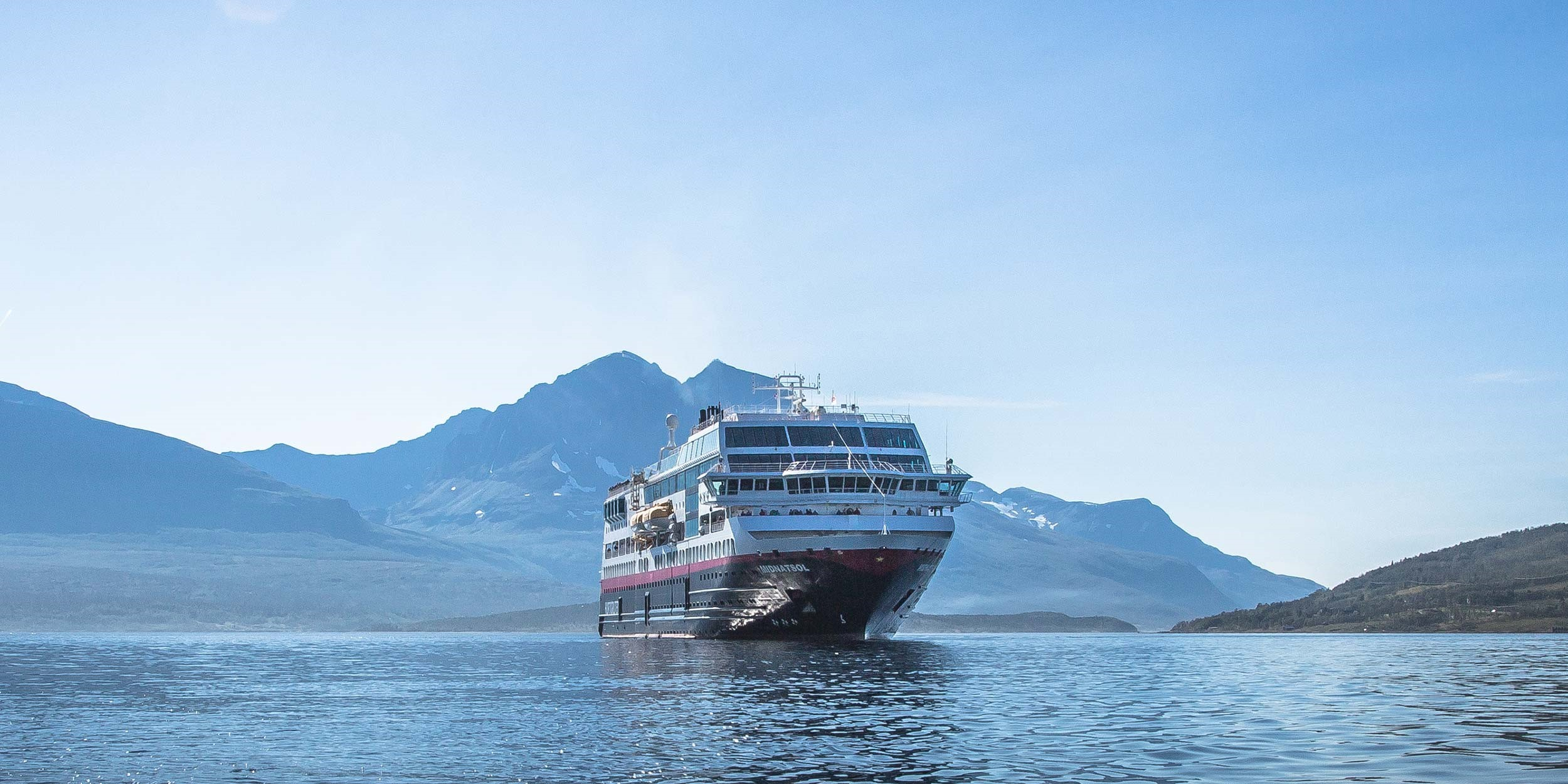 MS Midnatsol , the ship servicing Christmas Adventure in Antarctica