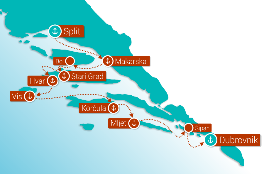 Map for Split to Dubrovnik Cruise in Comfort