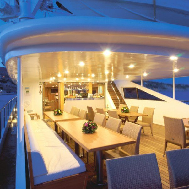 Harmony outside dining | The Small Cruise Ship Collection.